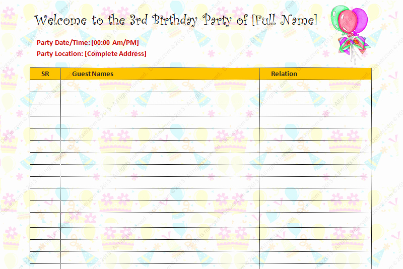 Birthday Party Guest List Template Dotxes