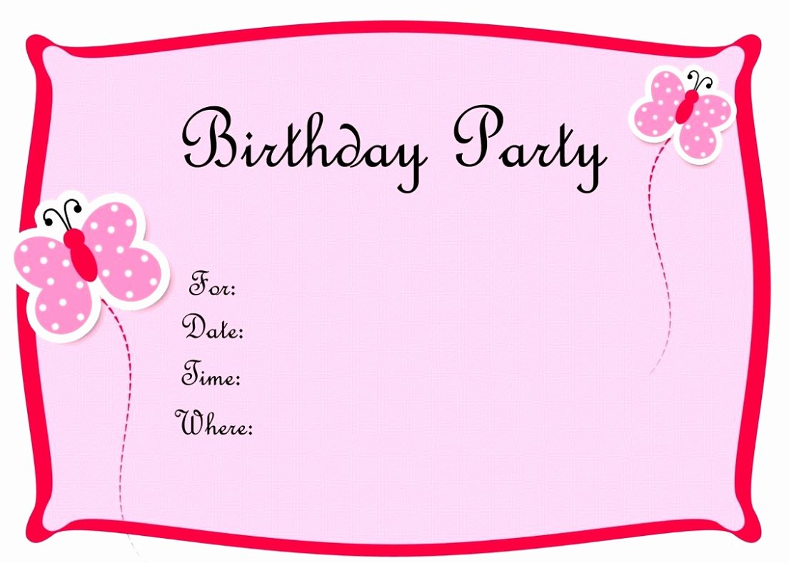 Birthday Party Invitation Card Template Word