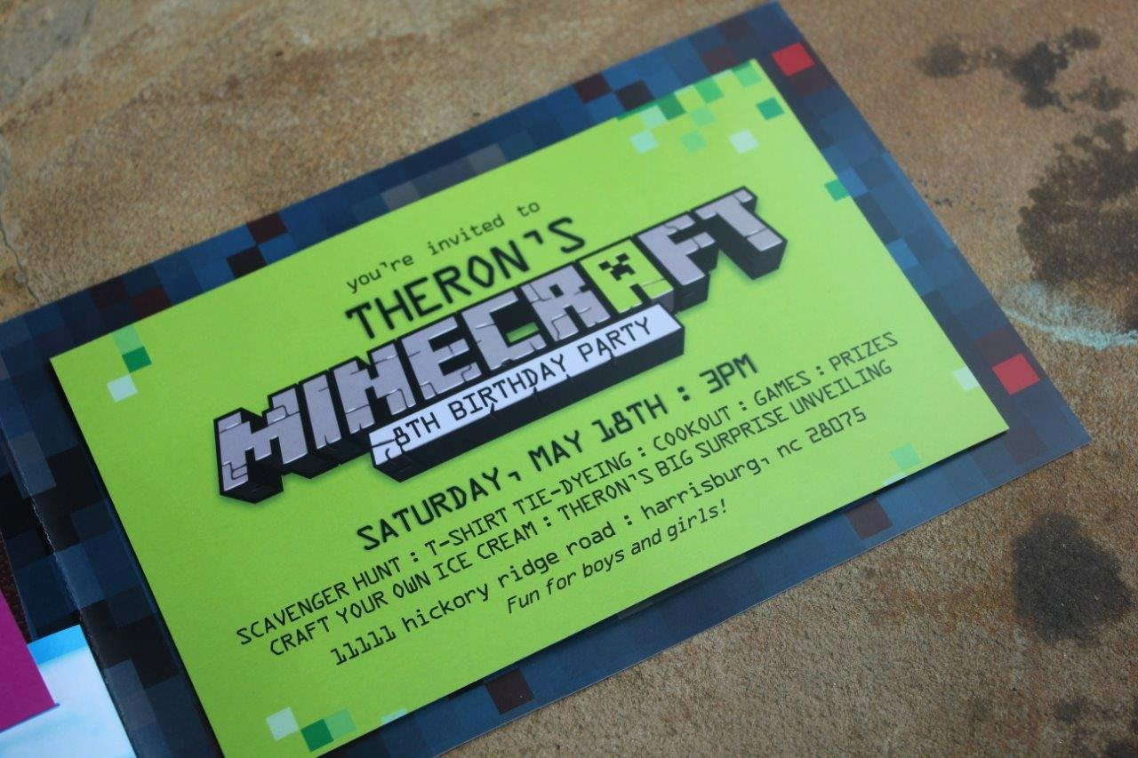 Birthday Party Invitations and Gifts by Fox T Minecraft