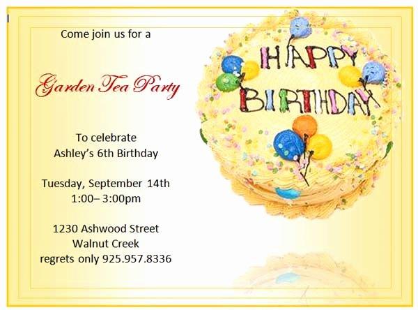 Birthday Party Invitations Microsoft Word Templates