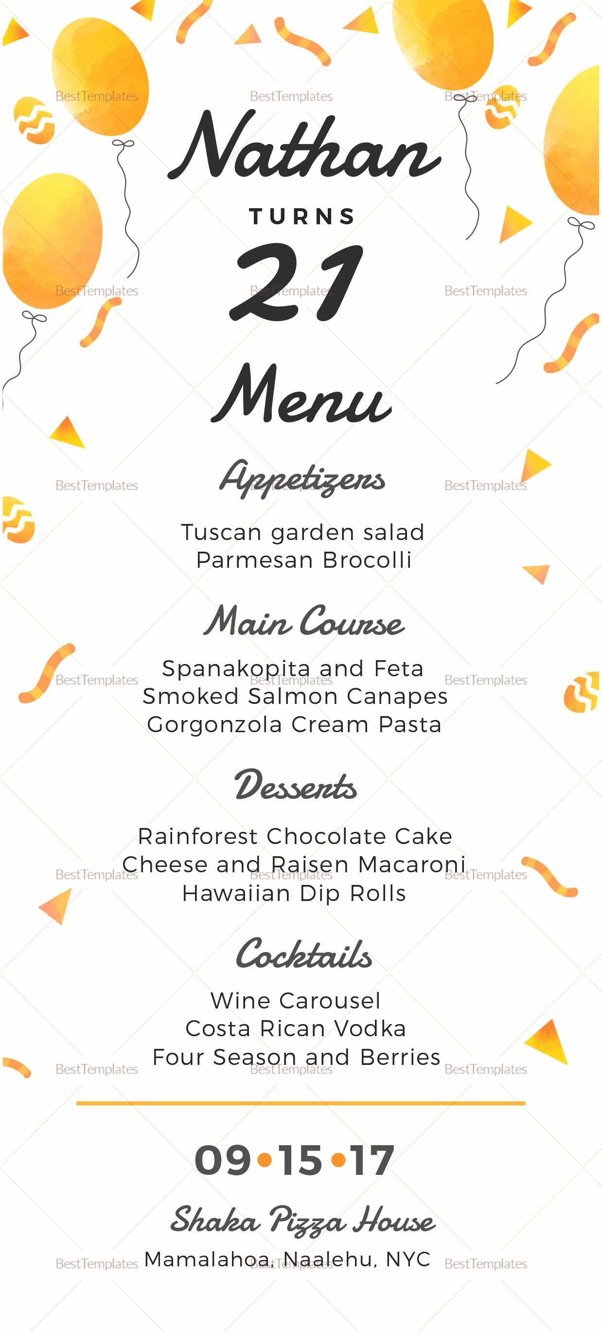 Birthday Party Menu Design Template In Psd Word