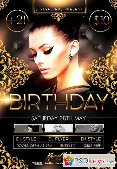 Birthday Party Psd Flyer Template Cover Free
