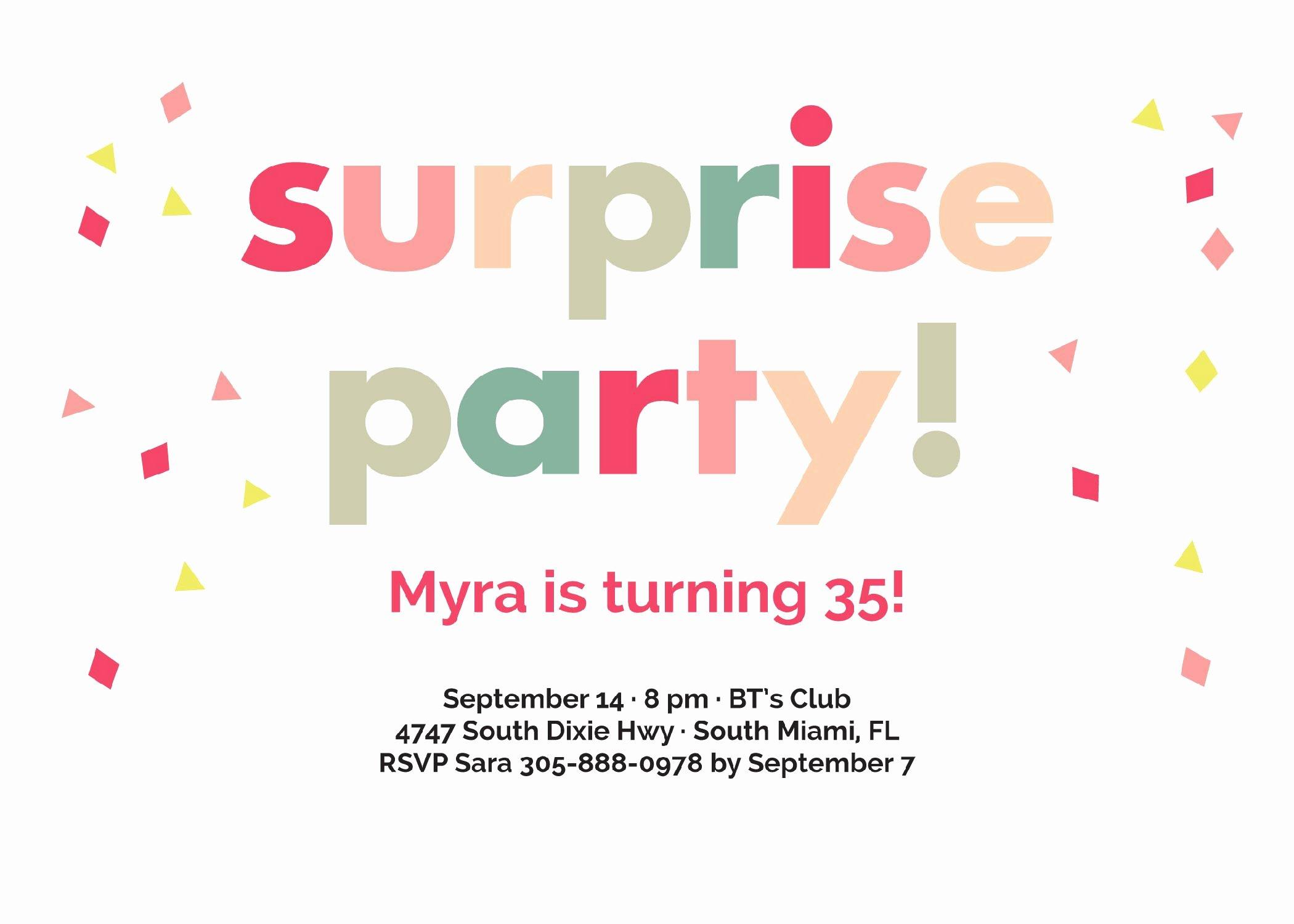 Birthday Party Surprise Birthday Invitations Card