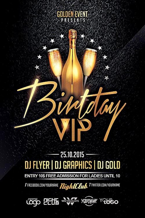 Birthday Vip Party Flyer Template Flyer for Club and