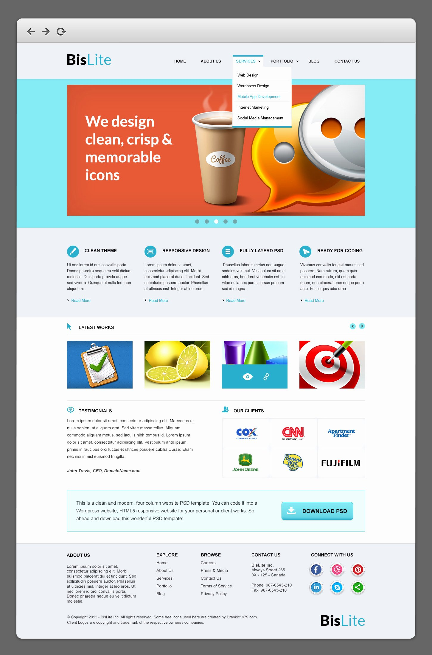 Bislite Business Website Psd Templates Graphicsfuel