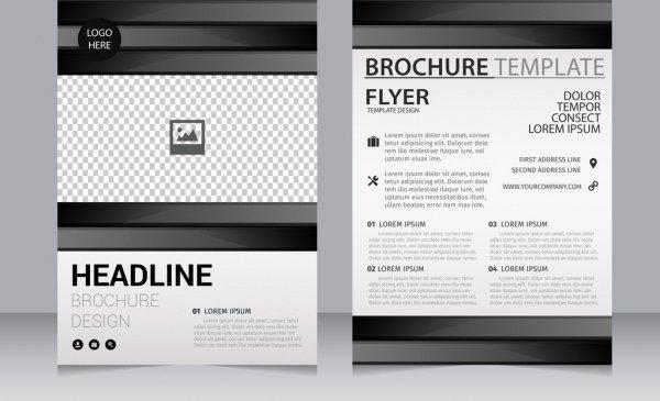Bisnis Brosur Template Hitam Putih Kotak Kotak Dekorasi