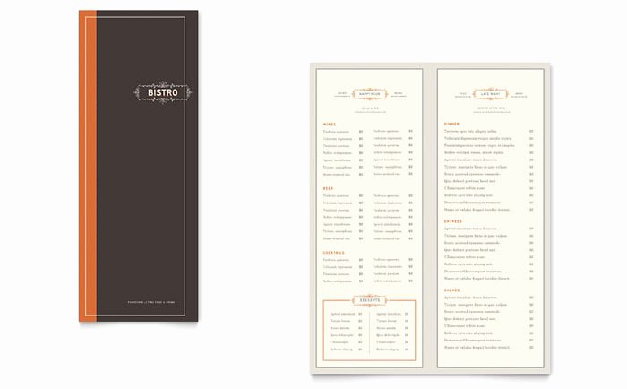 Bistro & Bar Take Out Brochure Template Design