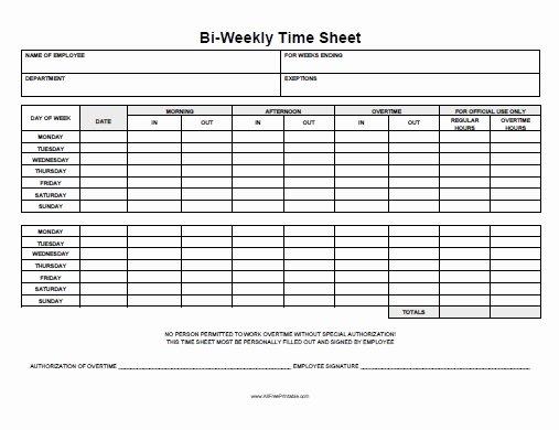 Biweekly Time Sheet Free Printable Allfreeprintable
