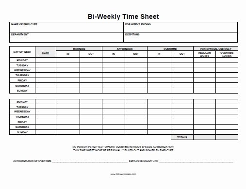 Biweekly Time Sheet Free Printable Allfreeprintable
