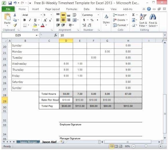 Biweekly Timesheet Template for Multiple Employee