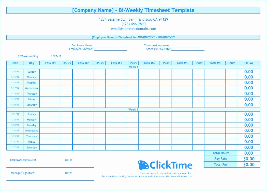 Biweekly Timesheet Template Free Excel Templates
