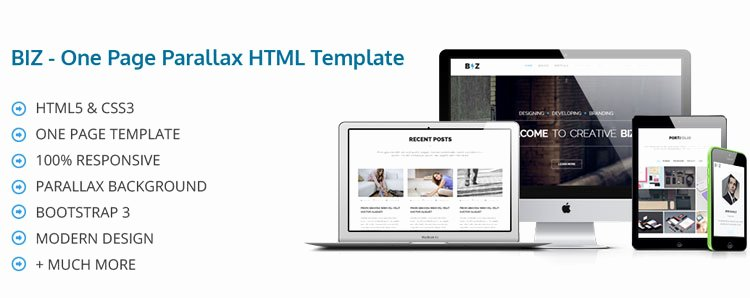 Biz E Page Parallax HTML Template Released Codexcoder
