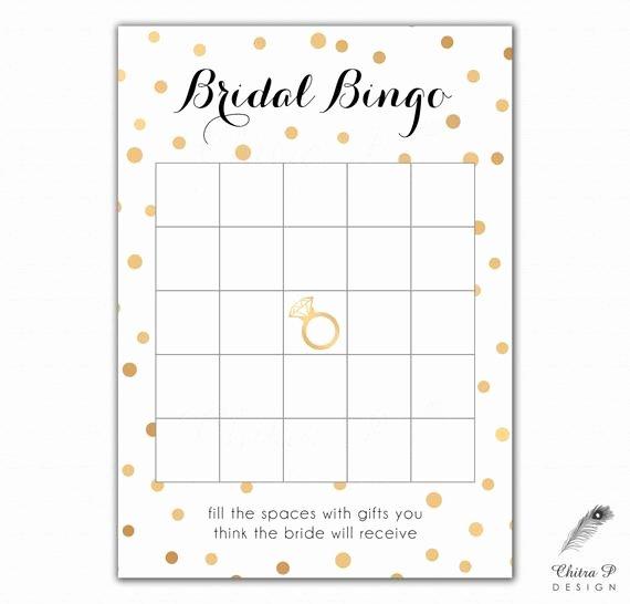 Black & Gold Bridal Shower Bingo Cards Printed or Printable