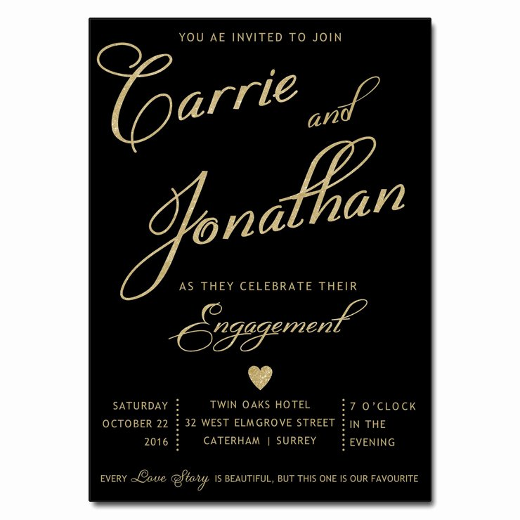 Black & Gold Engagement Party Invitations
