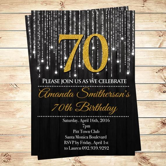 Black and Gold 70th Birthday Invitations 70th Birthday