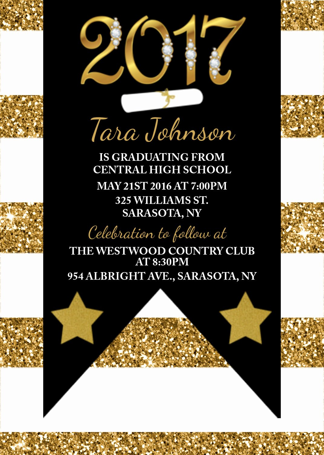 Black and Gold Graduation Invitations Yourweek D5b160eca25e