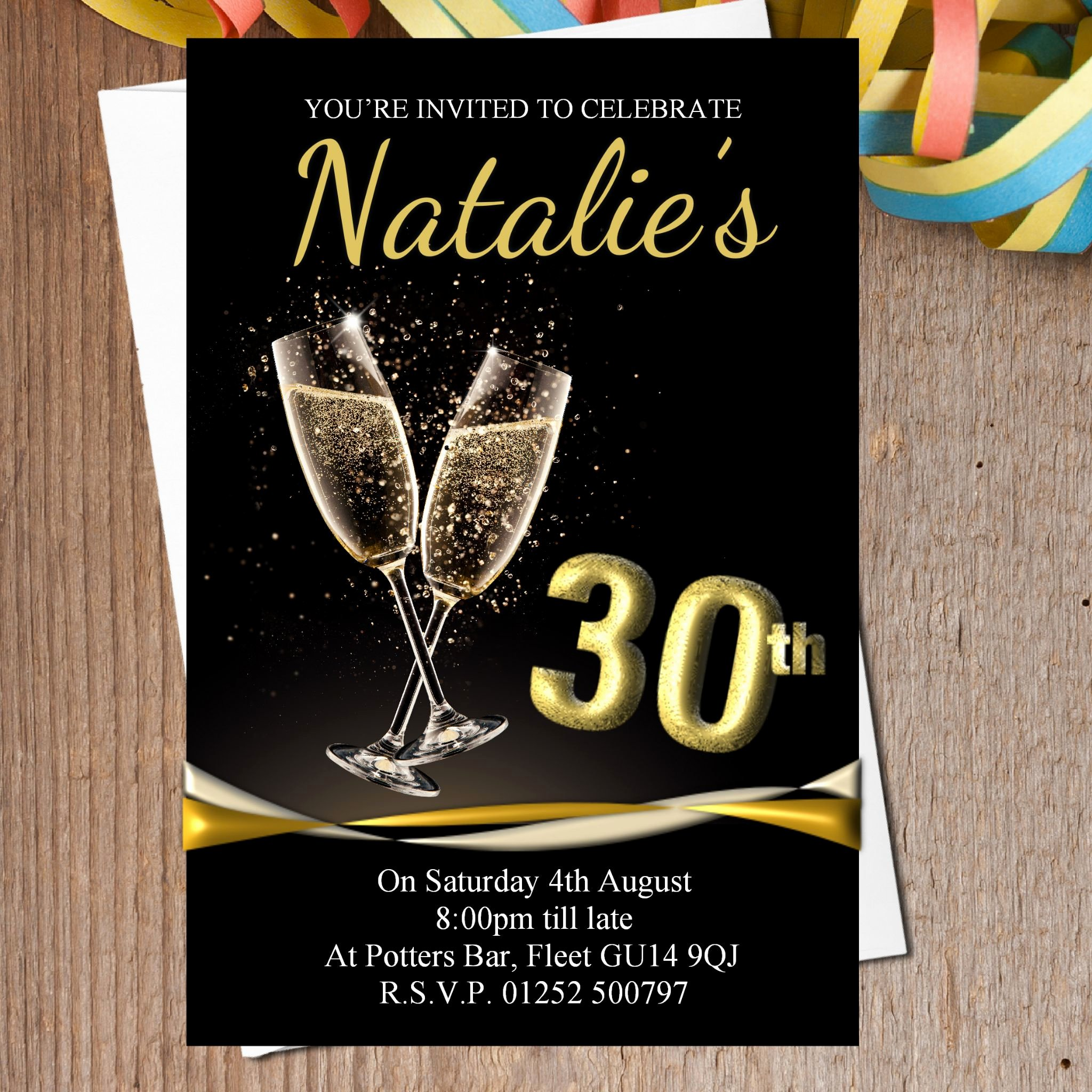 Black and Gold Invitation Template Fwauk
