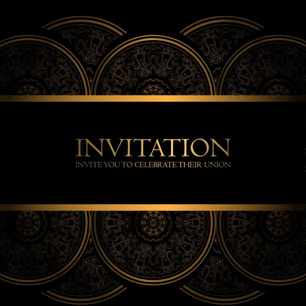 Black and Gold Invitation Vector