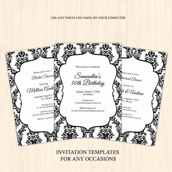 Black and White Damask Adult Birthday Invitation Template