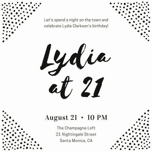 Black and White Dots Birthday Invitation Templates by Canva