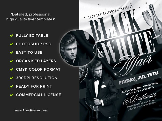 Black and White Flyer Template Flyerheroes