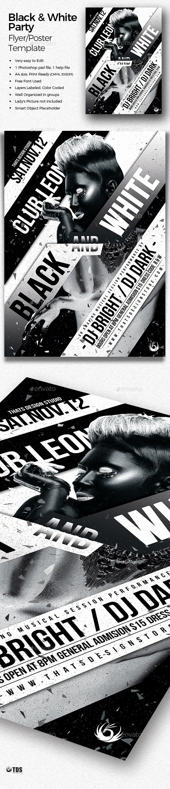 Black and White Party Flyer Template by Lou606