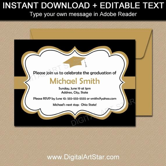 Black Gold Printable Graduation Invitation Template