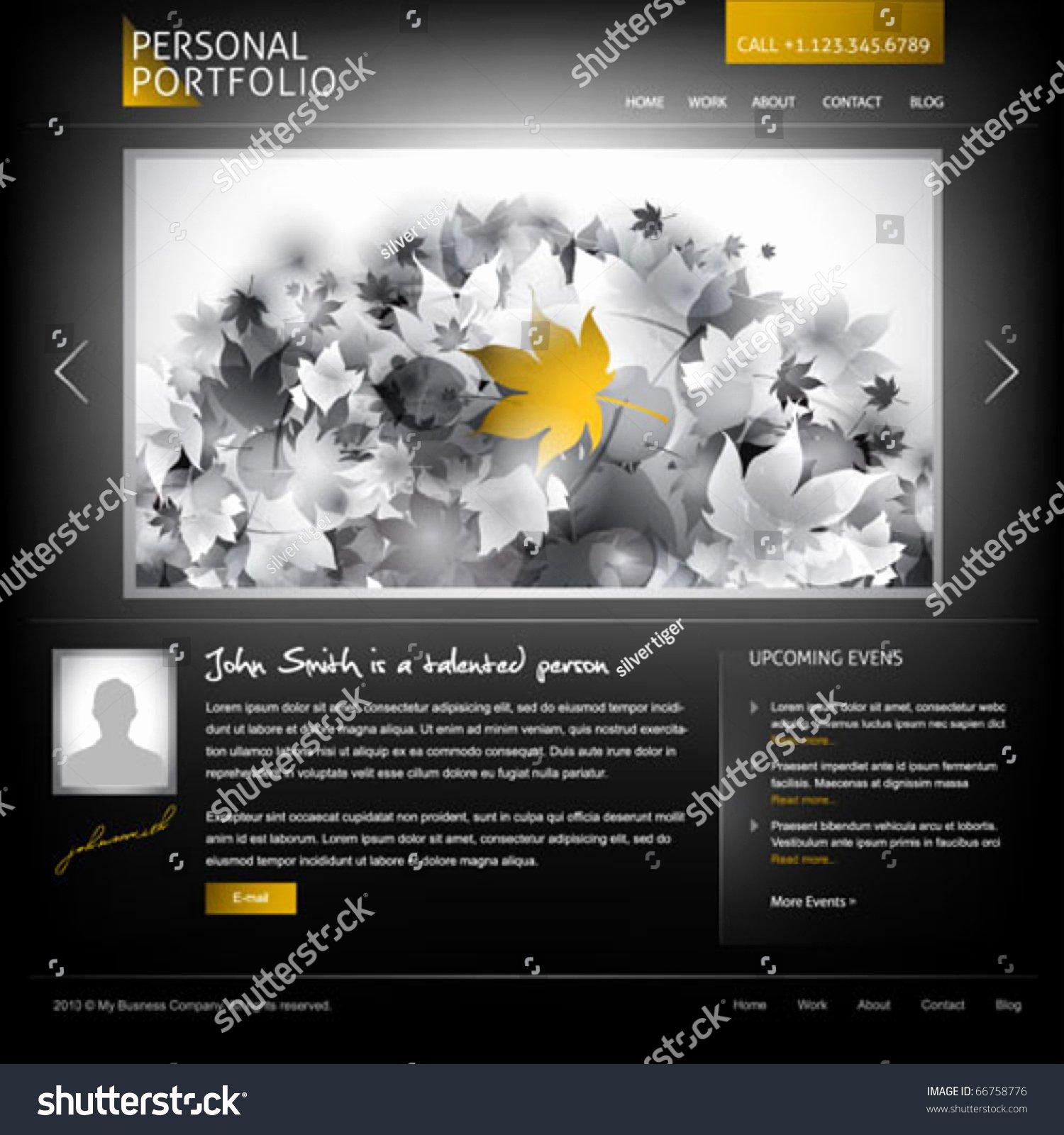 Black Stylish Website Template for Personal Portfolio