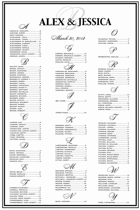 Blackandwhitewedding Wedding Seating Chart Seating