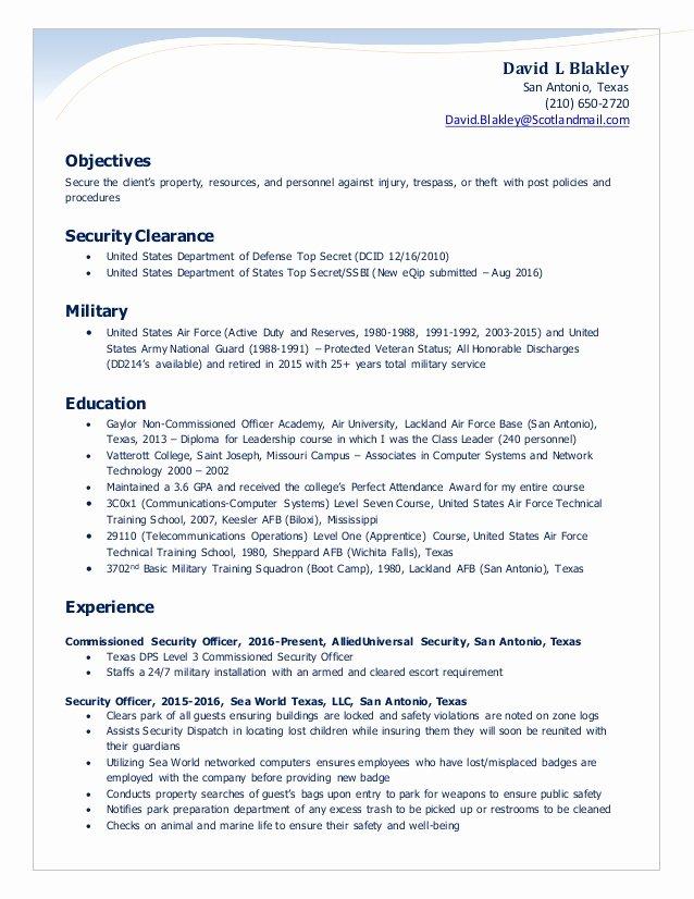 Blakley Security Ficer Resume 2016