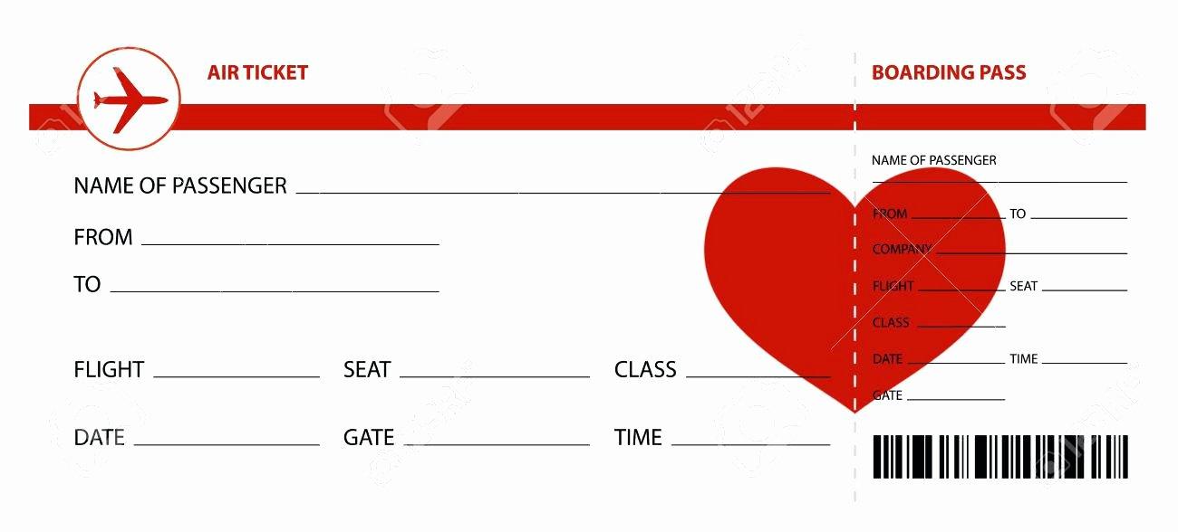 Blank Airline Ticket Template Mock Plane Word Boarding