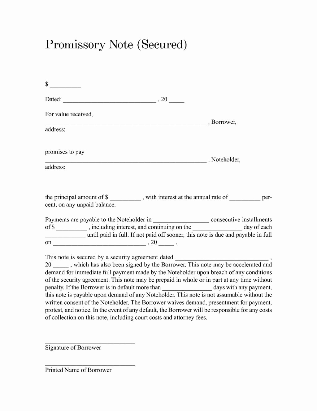 Blank and Fill Able Secured Promissory Note form Sample