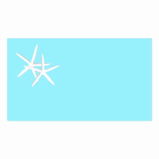 Blank Aqua Starfish Place Cards Business Card Templates