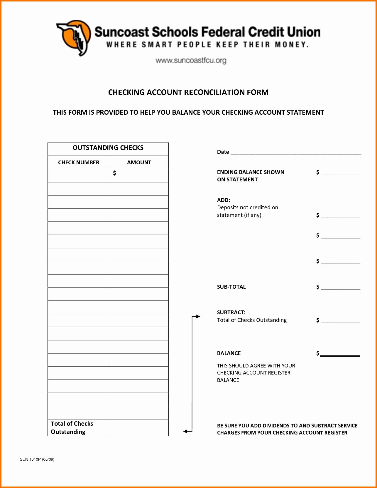 Blank Bank Reconciliation form Portablegasgrillweber