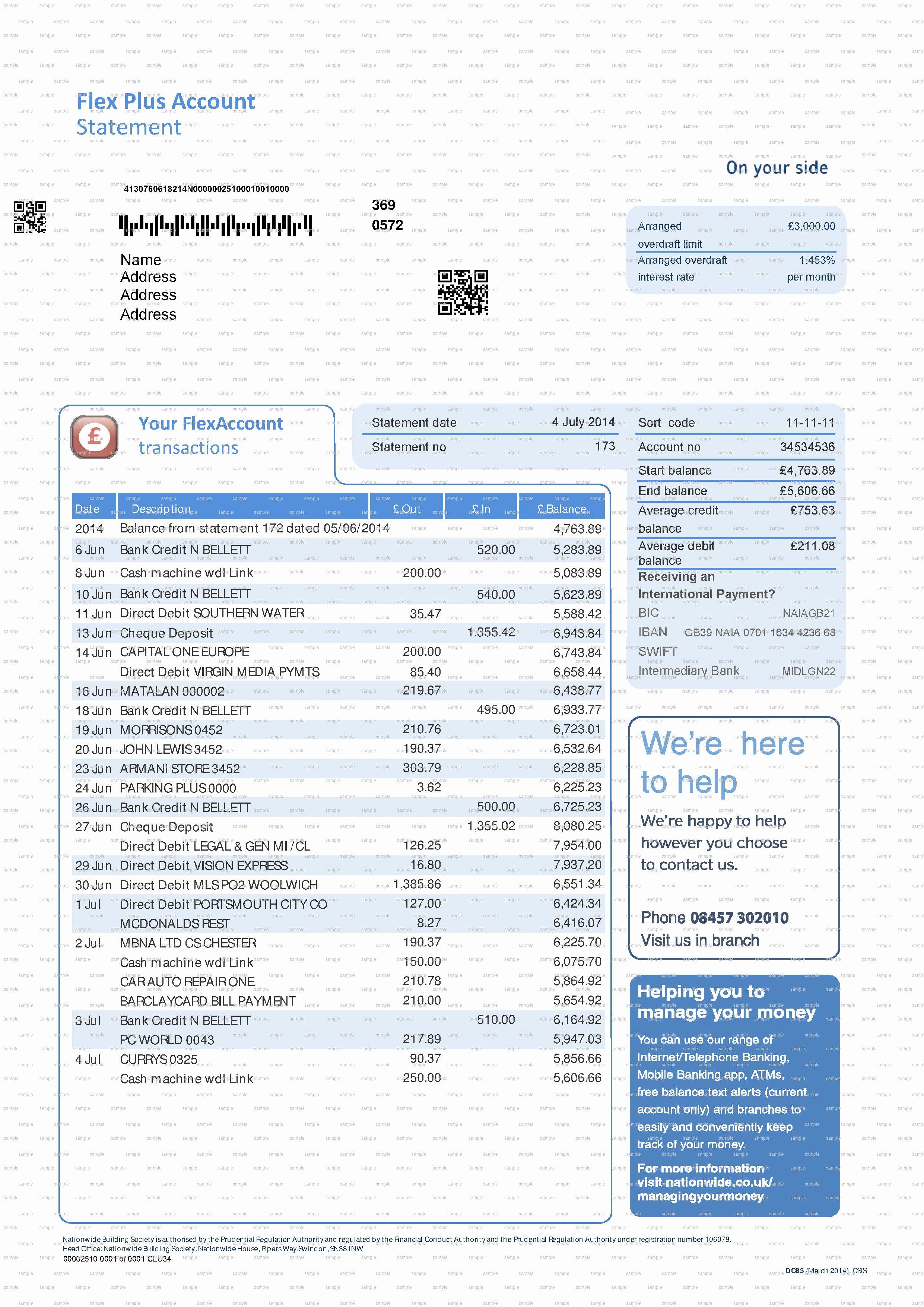 Blank Bank Statement Template Uk Templates Resume