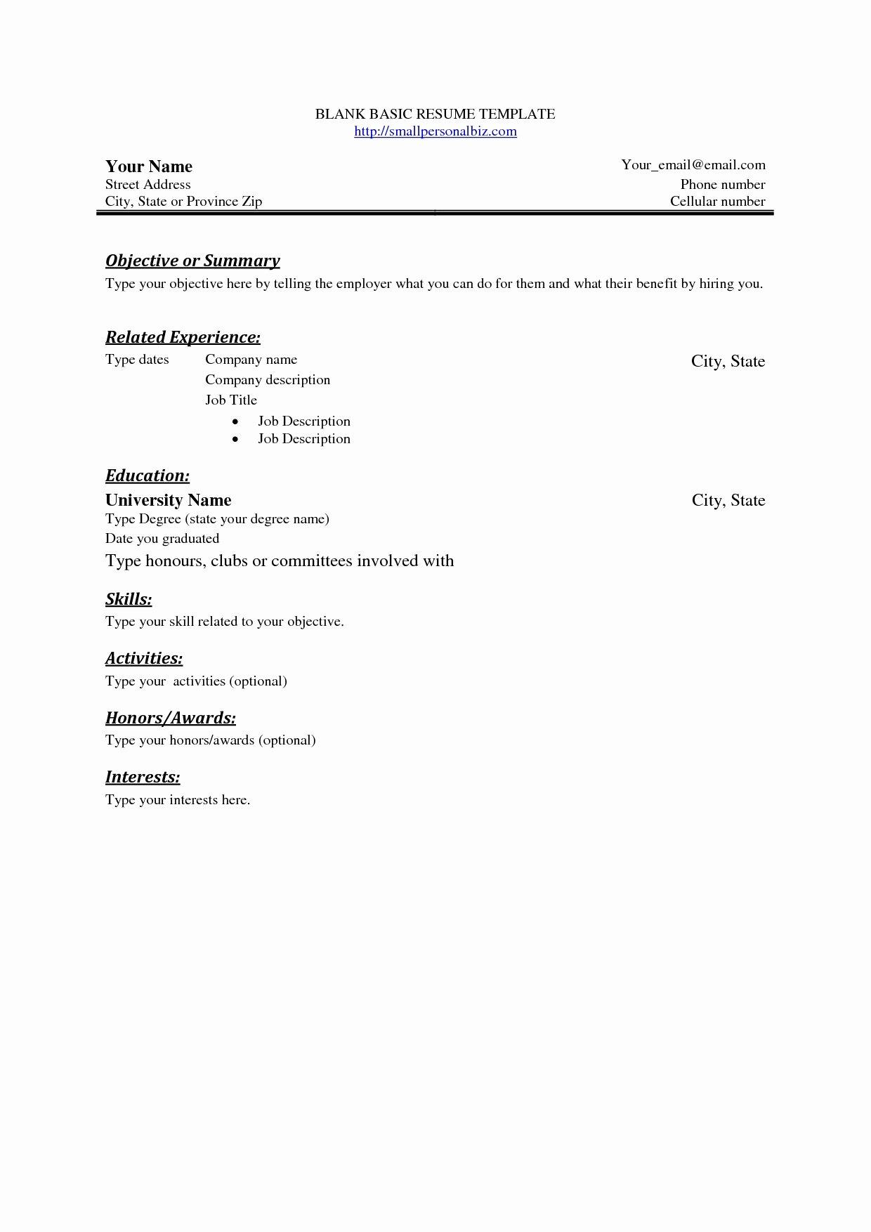 Blank Basic Resume Template