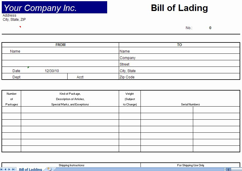 Blank Bill Lading form