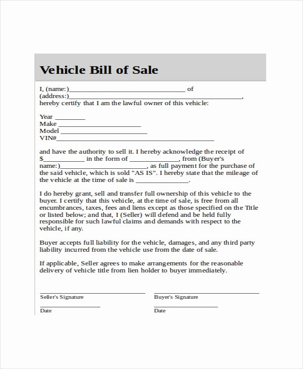 Blank Bill Of Sale Template 7 Free Word Pdf Document