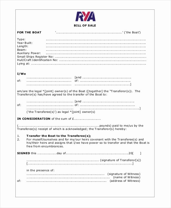 Blank Bill Of Sale Template 7 Free Word Pdf Document