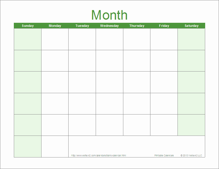 Blank Calendar Template Free Printable Blank Calendars