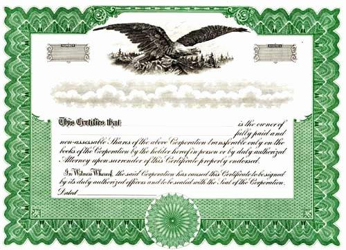 Blank Certificates Corporation Blank Blumberg Stock