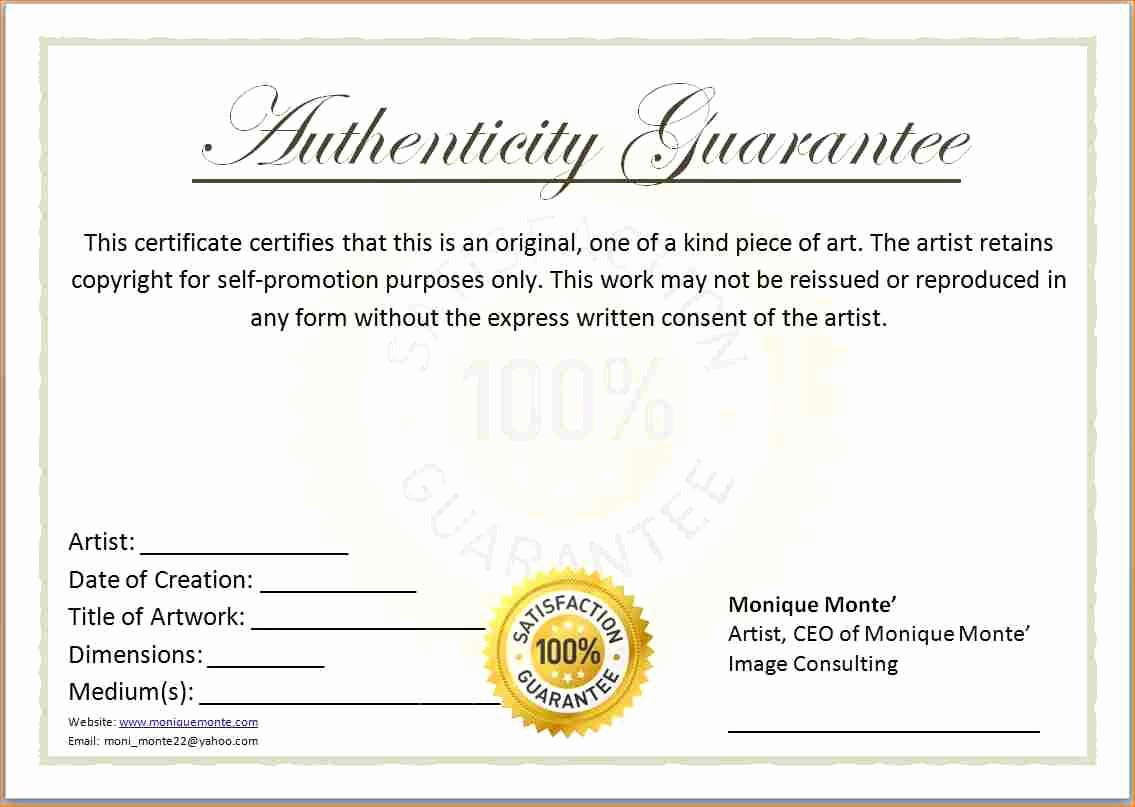 photo regarding Printable Certificate of Authenticity identified as Certification Of Authenticity Template Certification Latter
