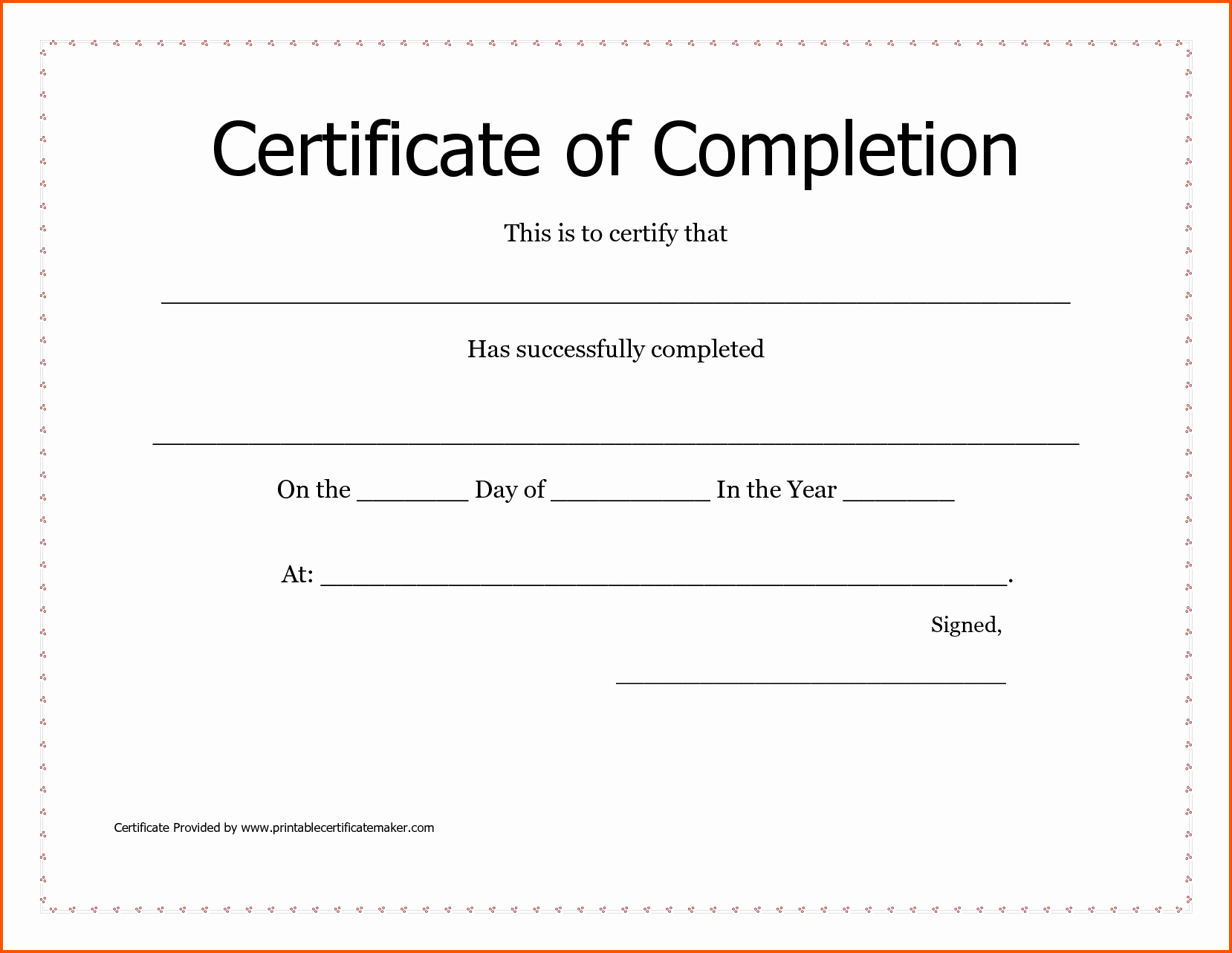 blank certificates of pletion