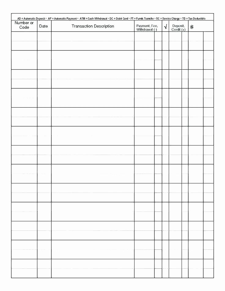 Blank Check Register Template Pdf Checkbook Registers to