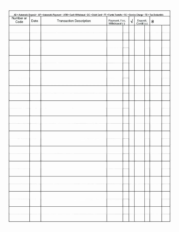 Blank Check Register Template Pdf Checkbook Registers to