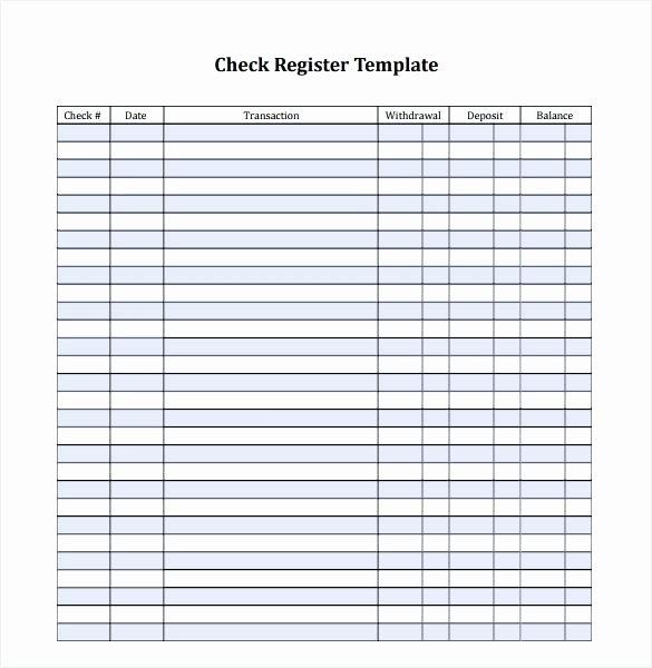 Blank Check Register Template Printable Checkbook