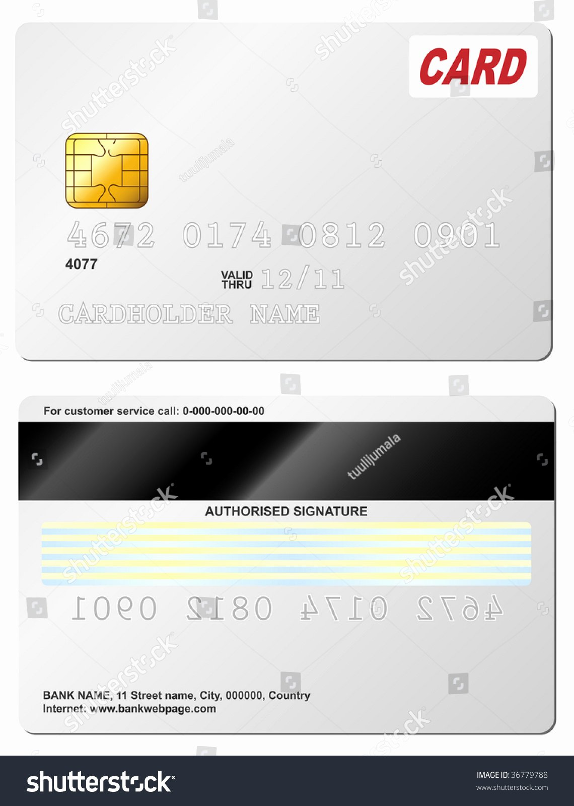 Blank Credit Card Vector Template Front and Back View