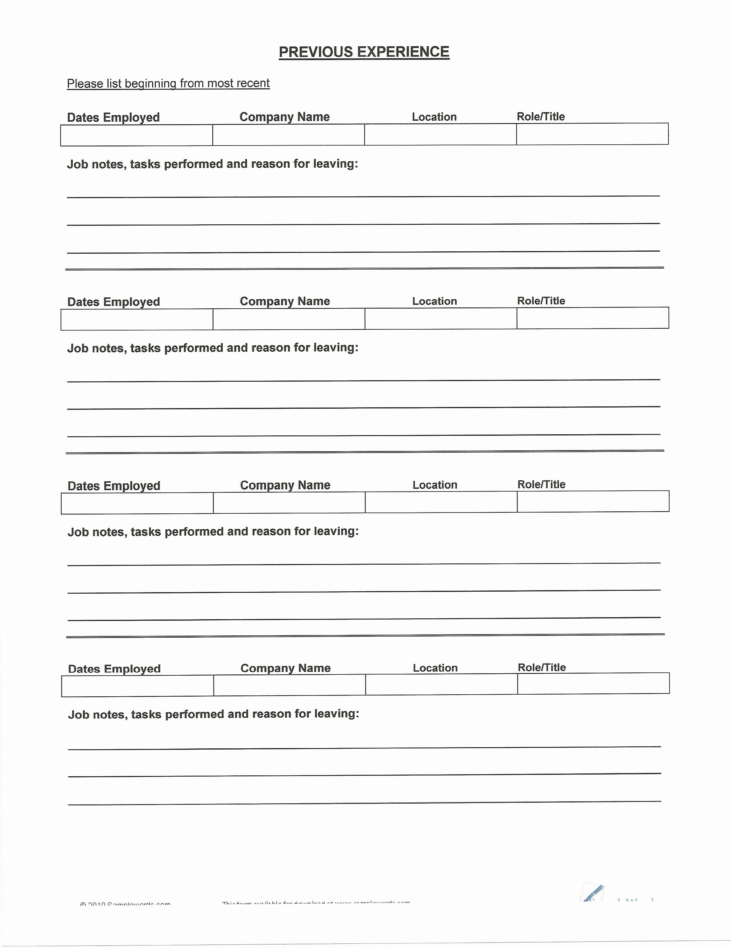 Blank Cv To Fill In Resume Template