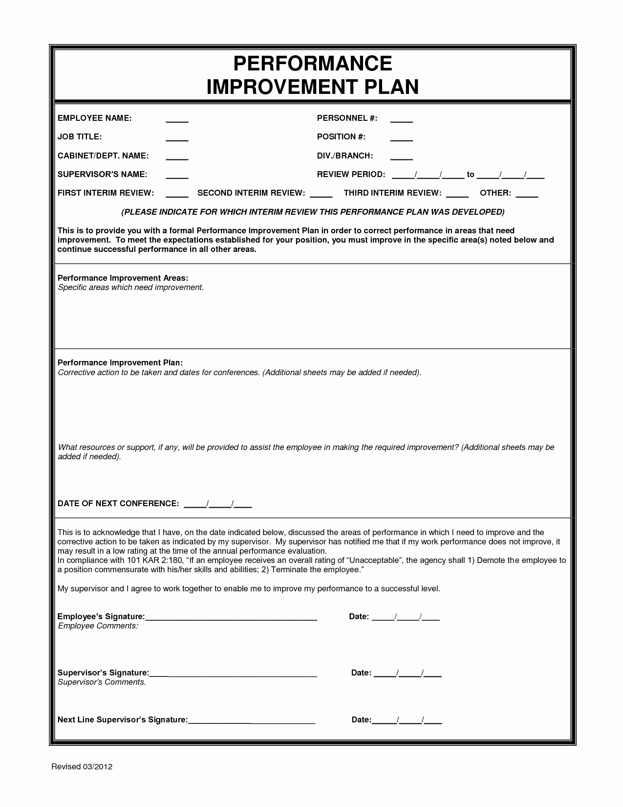 Blank Employee Performance Action Plan form and Template