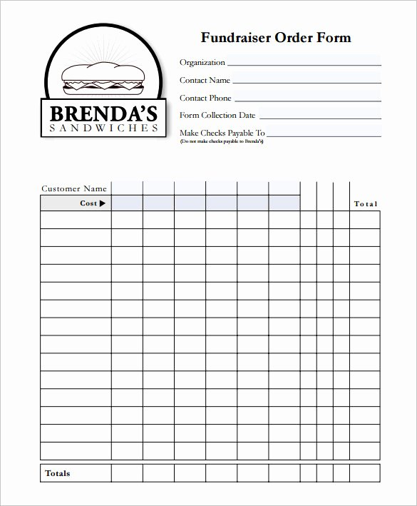 Blank Fundraiser order form Template Alfonsovacca